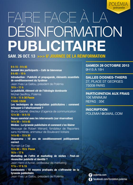 """6ème Journée de la réinformation - Polémia : """"Faire face à la désinformation publicitaire"""". 26 octobre 2013"""