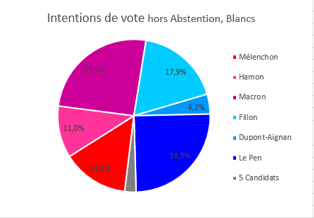 Intentions de vote hors abstention, Blancs