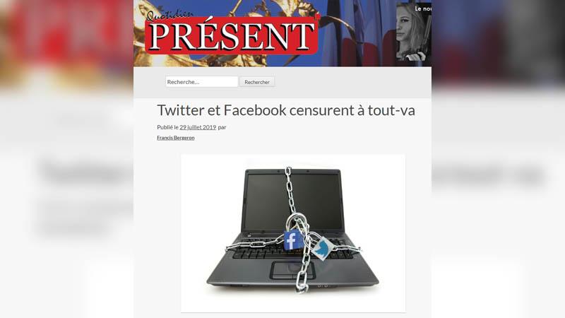 Le quotidien Présent face à la censure de Facebook